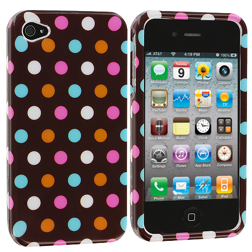 Apple iPhone 4 / 4S Chocolate Dots Design Crystal Hard Case Cover