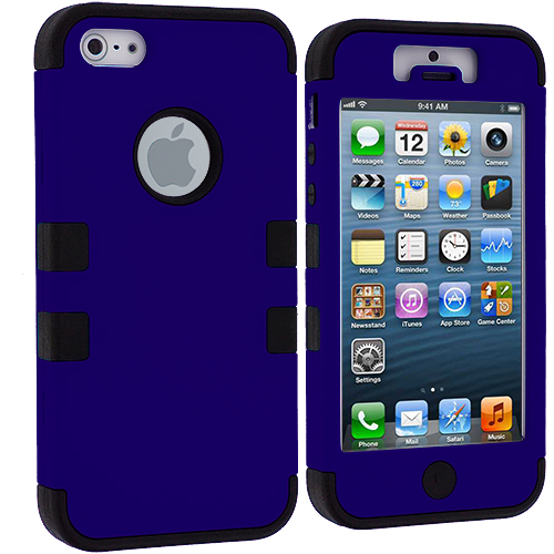 Apple iPhone 5/5S/SE Black / Blue Hybrid Tuff Hard/Soft 3-Piece Case Cover