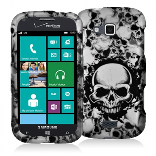 Samsung ATIV Odyssey Black White Skulls Hard Rubberized Design Case Cover