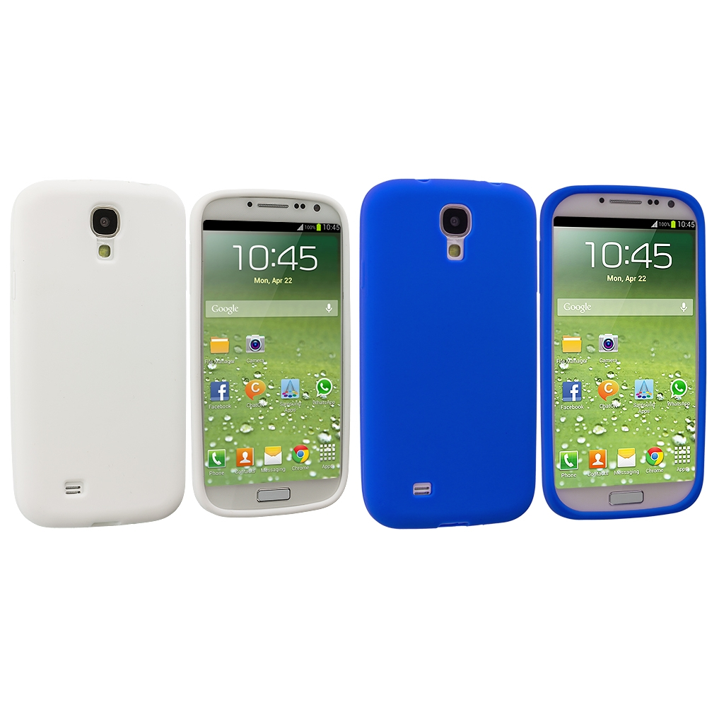 Samsung Galaxy S4 2 in 1 Combo Bundle Pack - White Blue Silicone Soft Skin Case Cover