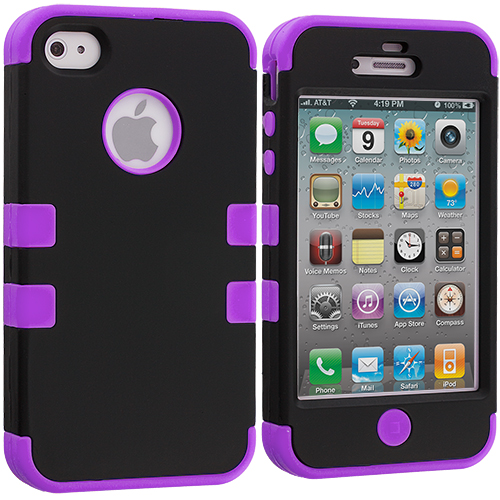 Apple iPhone 4 / 4S Black / Purple Hybrid Tuff Hard/Soft 3-Piece Case Cover