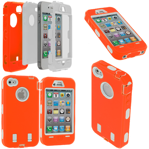Apple iPhone 4 / 4S Orange / White + Protector Hybrid Deluxe Hard/Soft Case Cover
