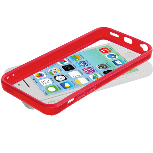 Apple iPhone 5C 2 in 1 Combo Bundle Pack - Orange Red Solid TPU Bumper with Metal Buttons : Color Red Solid