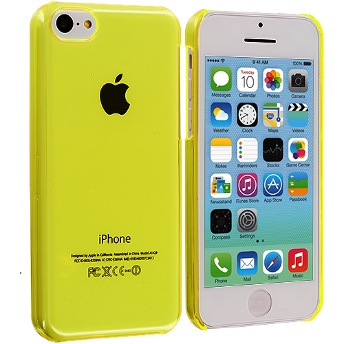 Apple iPhone 5C 2 in 1 Combo Bundle Pack - Neon Green Yellow Transparent Crystal Hard Back Cover Case : Color Yellow Transparent