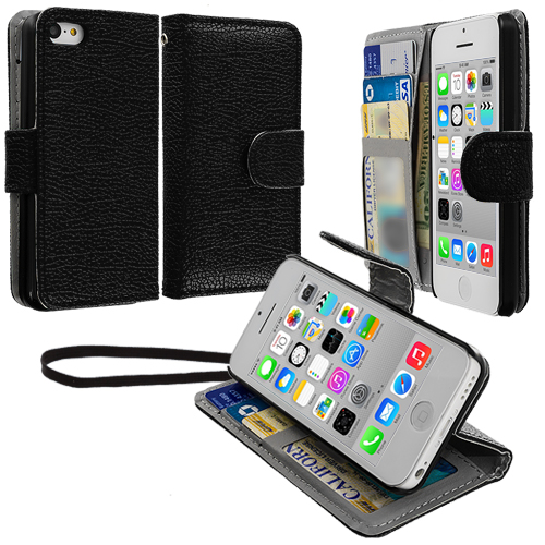 Apple iPhone 5C Black Leather Wallet Pouch Case Cover with Slots
