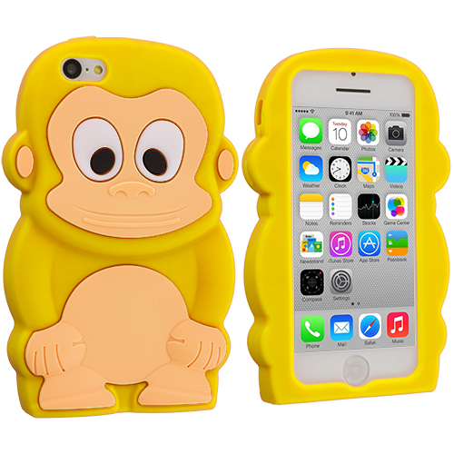 Apple iPhone 5C Yellow Monkey Silicone Design Soft Skin Case Cover