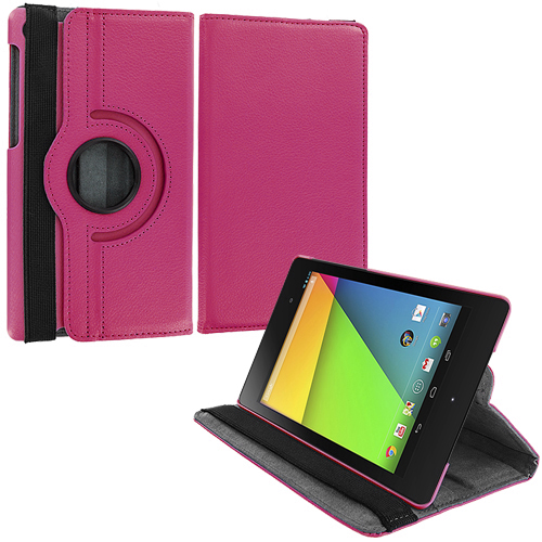 Asus Google Nexus 7 II Hot Pink 360 Rotating Leather Pouch Case Cover Stand