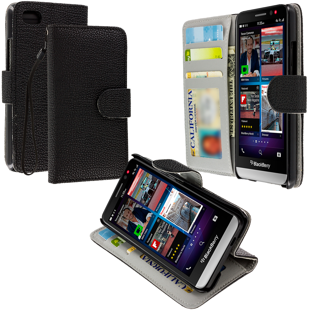 Blackberry Z30 Black Leather Wallet Pouch Case Cover with Slots