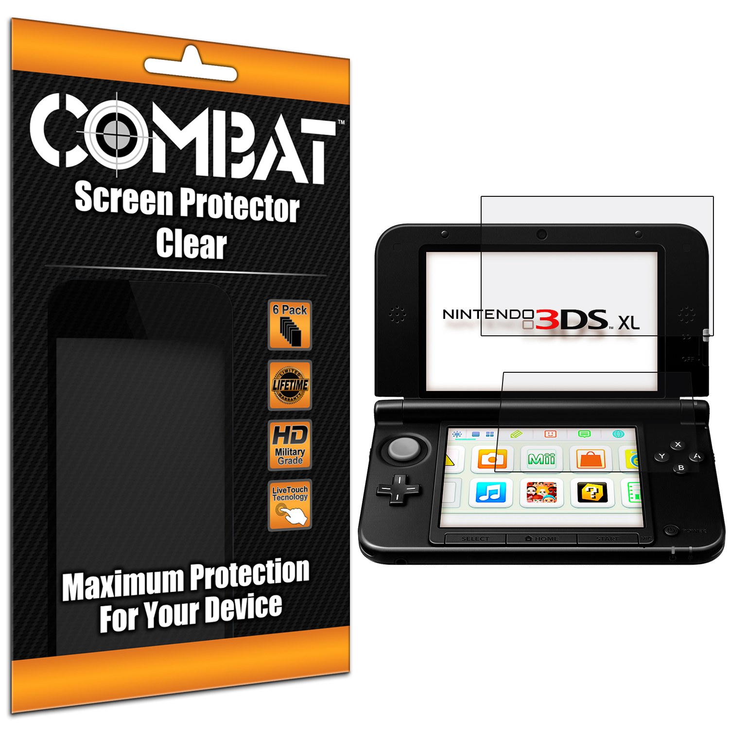 Nintendo 3DS XL Combat 6 Pack HD Clear Screen Protector