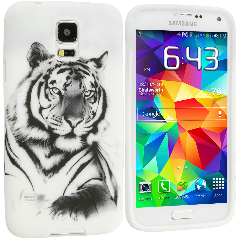 Samsung Galaxy S5 4 in 1 Combo Bundle Pack - Animals TPU Design Soft Case Cover : Color White TIger
