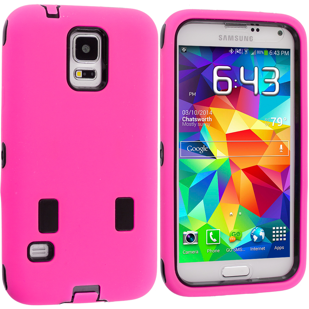 Samsung Galaxy S5 2 in 1 Combo Bundle Pack - Baby Blue / Pink Hybrid Deluxe Hard/Soft Case Cover : Color Hot Pink / Black