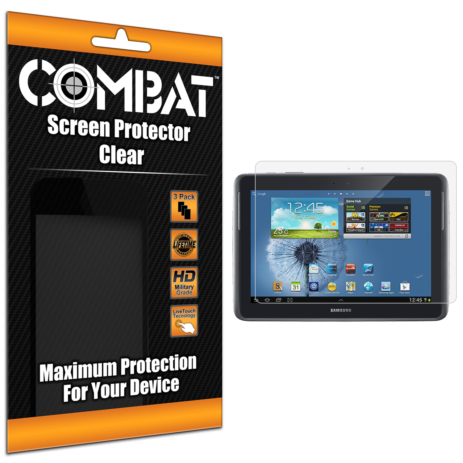 Samsung Galaxy Note 10.1 Combat 3 Pack HD Clear Screen Protector