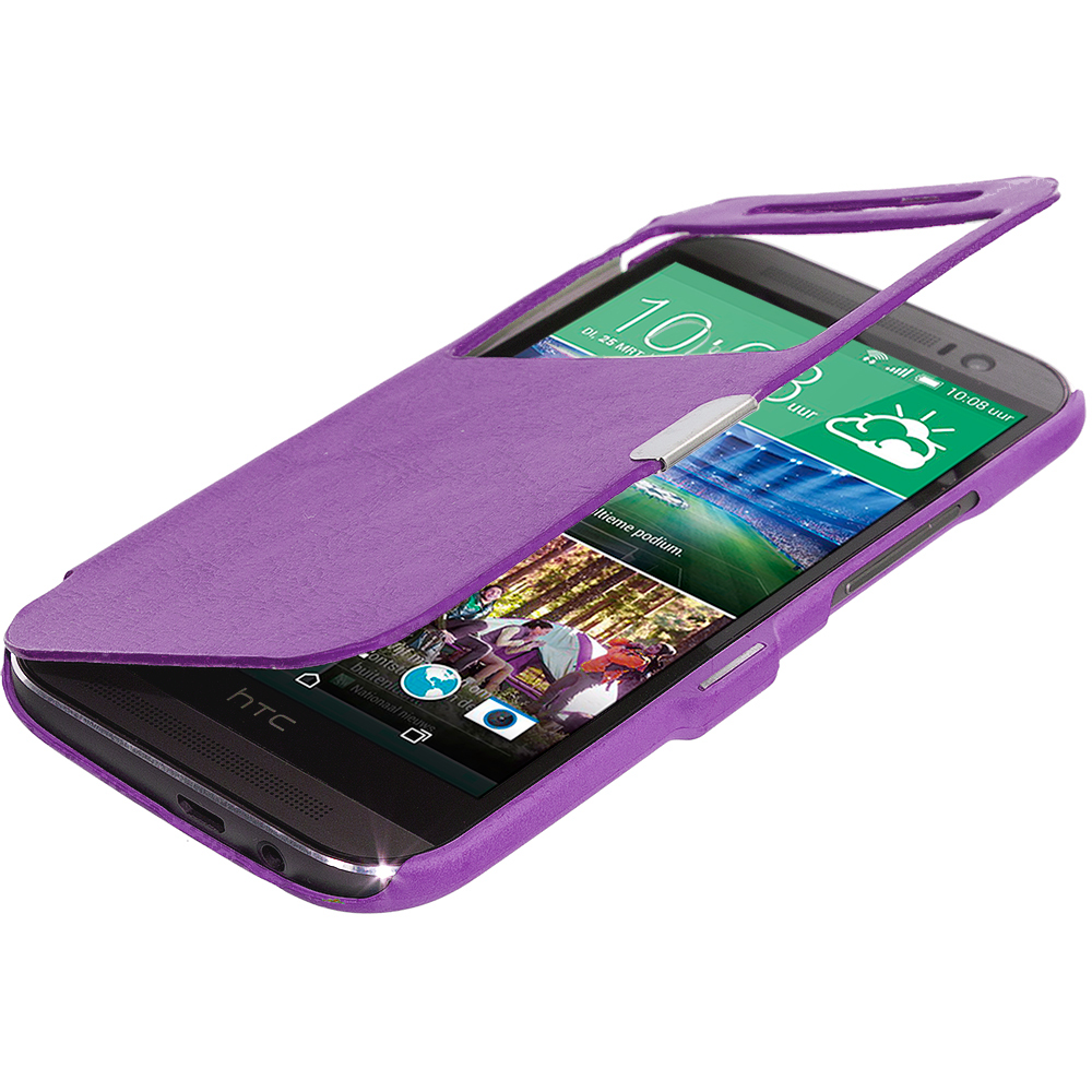 HTC One M8 Purple (Open Front) Magnetic Wallet Case Cover Pouch
