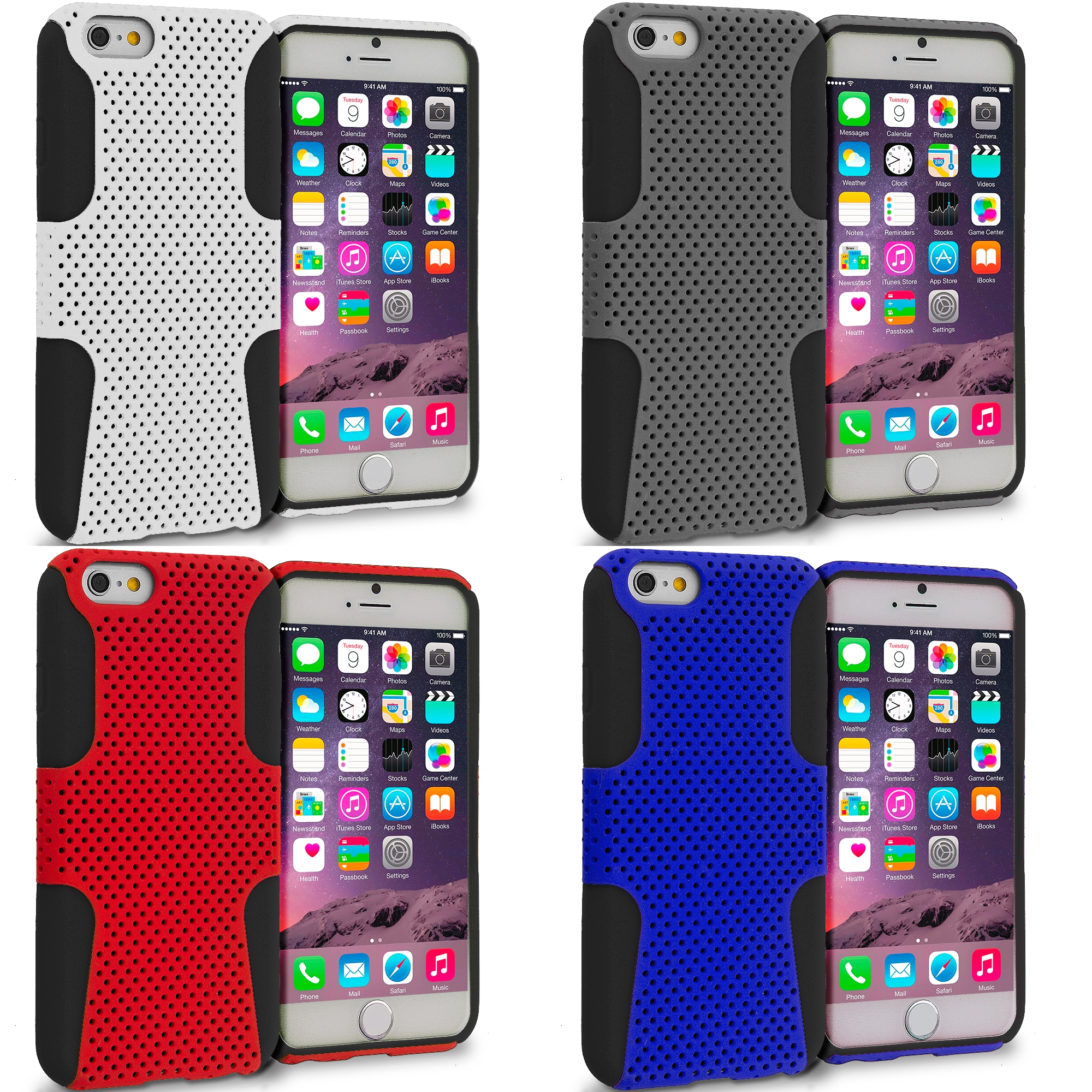 Apple iPhone 6 6S (4.7) 4 in 1 Combo Bundle Pack - Hybrid Mesh Hard/Soft Case Cover
