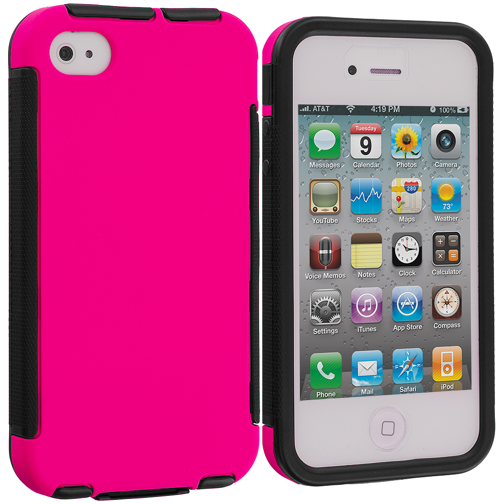Apple iPhone 4 / 4S Hot Pink Hybrid Hard TPU Shockproof Case Cover With Built in Screen Protector