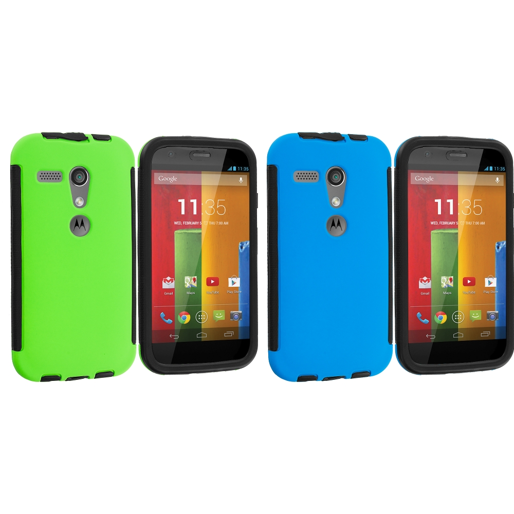 Motorola Moto G 2 in 1 Combo Bundle Pack - Green / Blue Hybrid Hard TPU Shockproof Case Cover With Built in Screen Protector