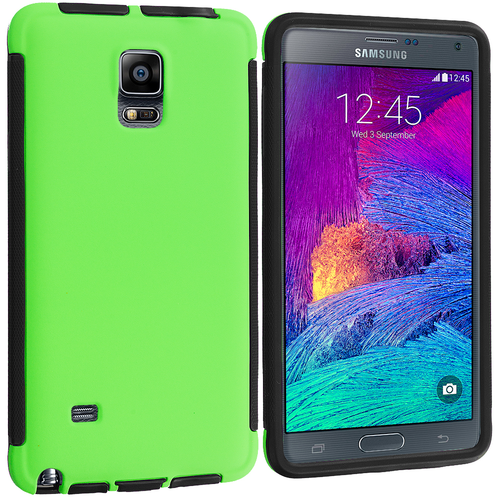 Samsung Galaxy Note 4 Black / Neon Green Hybrid Hard TPU Shockproof Case Cover With Built in Screen Protector