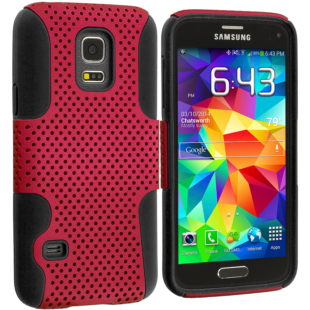 Samsung Galaxy S5 Mini G800 Black / Red Hybrid Mesh Hard/Soft Case Cover