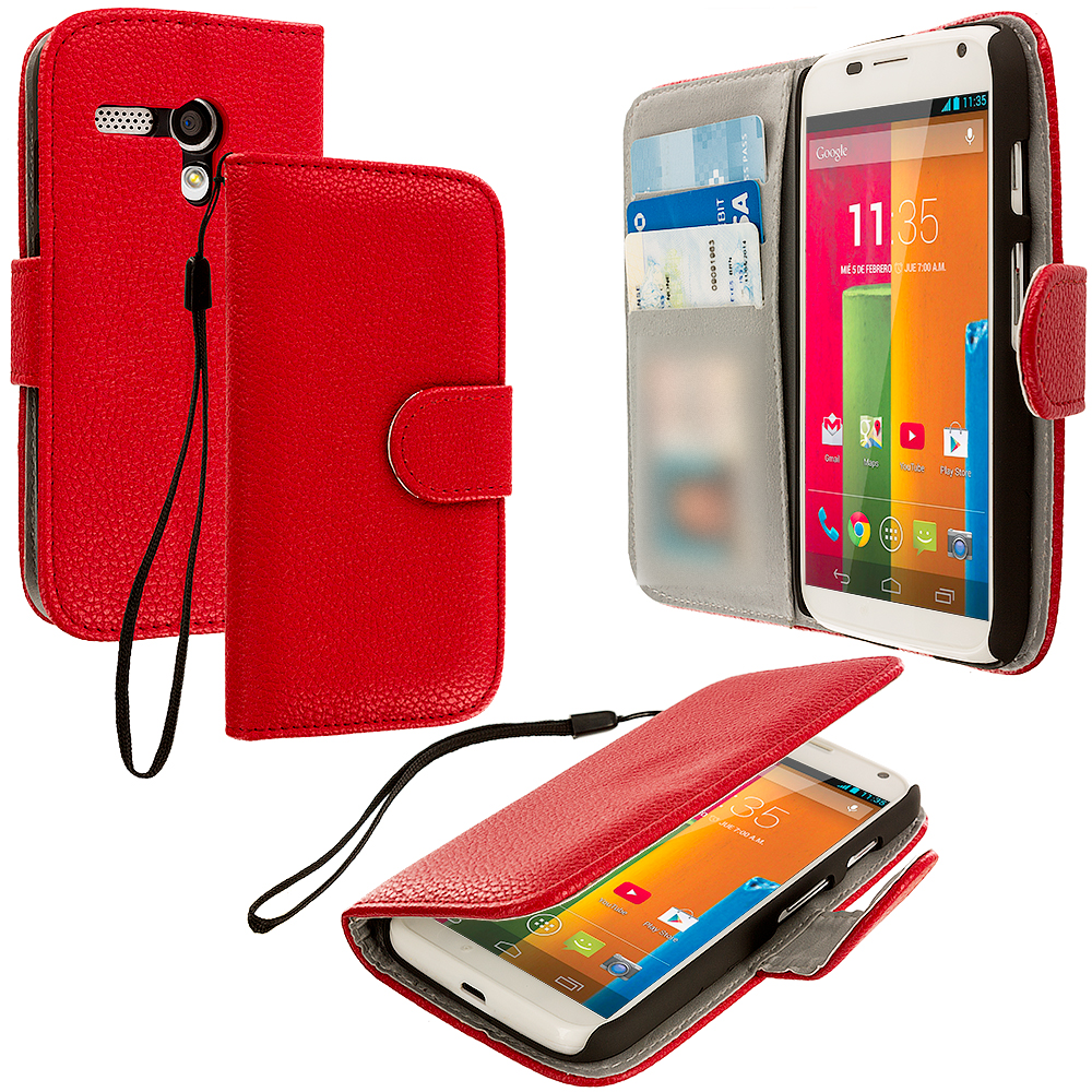 Motorola Moto G 2 in 1 Combo Bundle Pack - Red White Leather Wallet Pouch Case Cover with Slots : Color Red