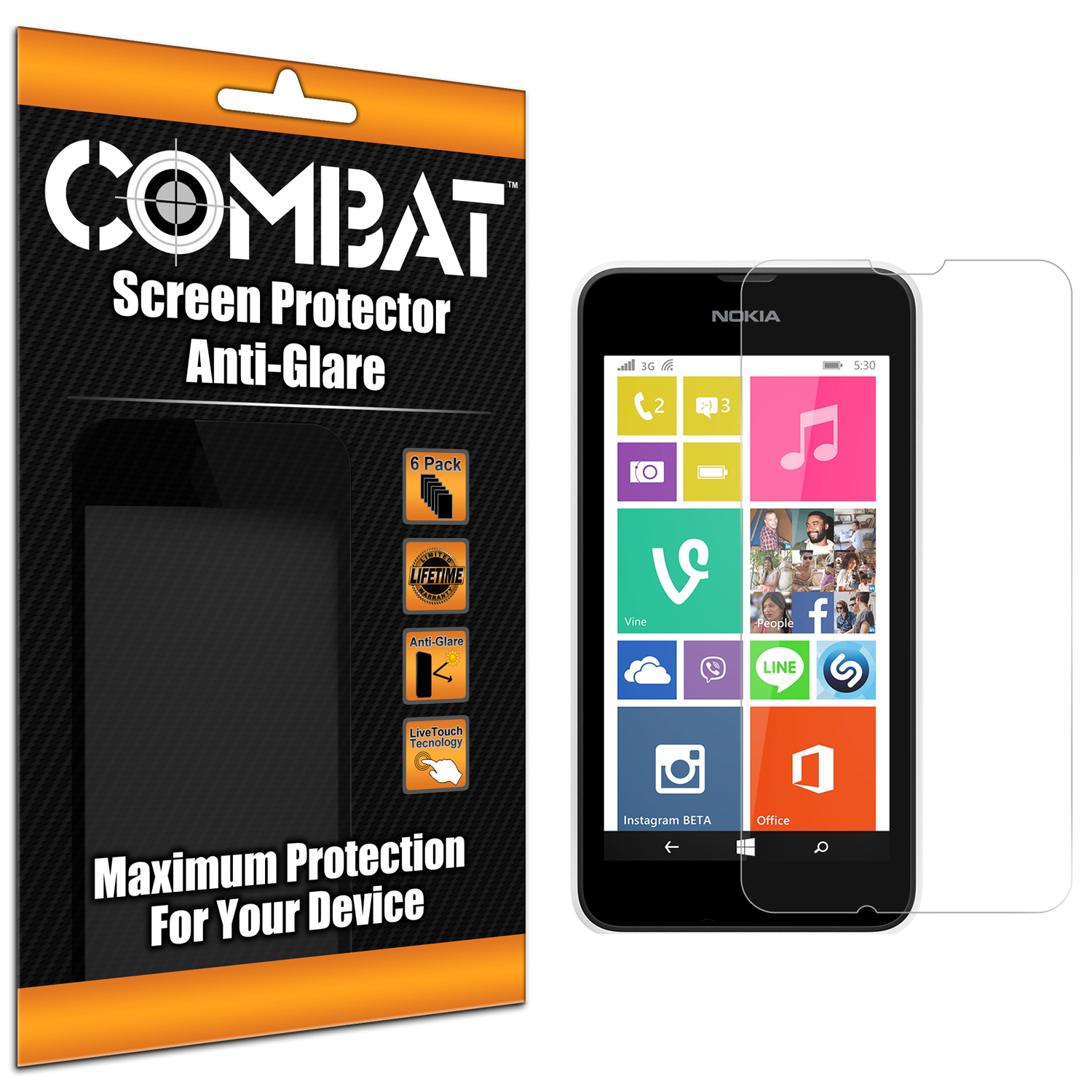 Nokia Lumia 530 Combat 6 Pack Anti-Glare Matte Screen Protector