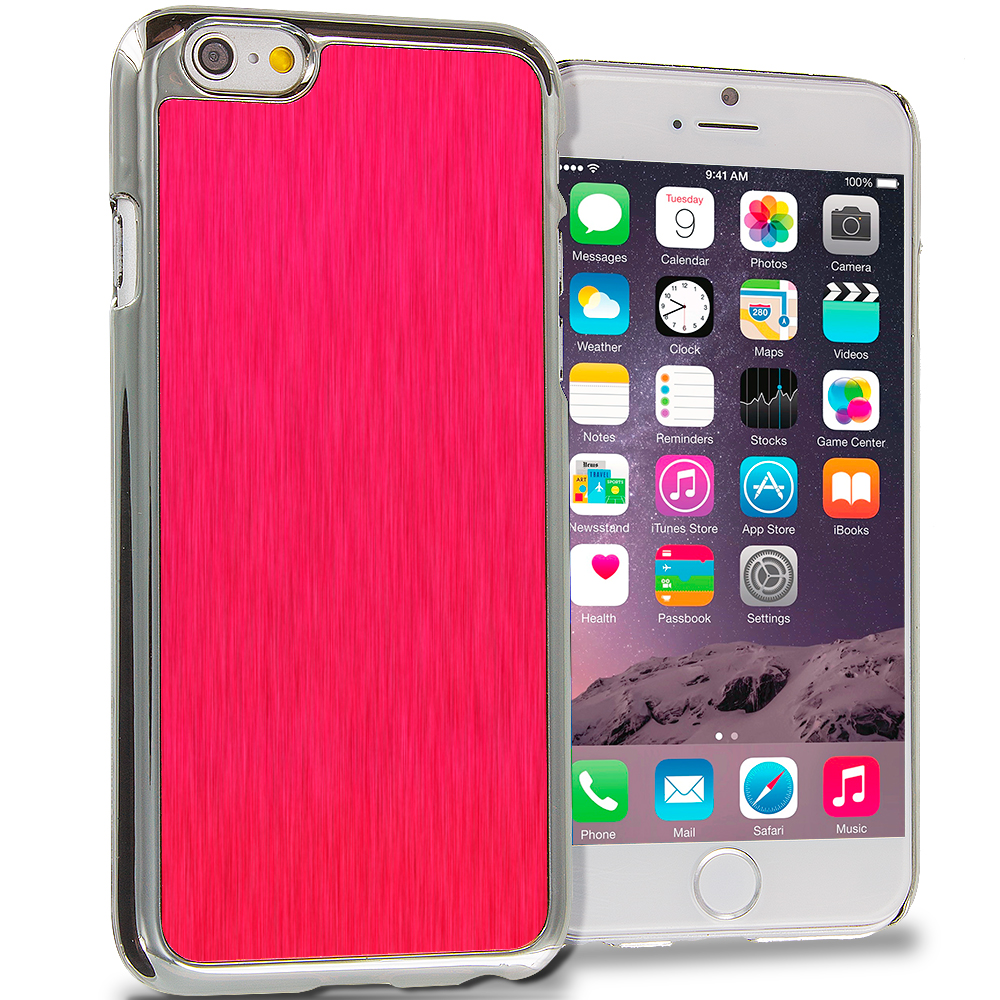 Apple iPhone 6 Plus 6S Plus (5.5) 3 in 1 Combo Bundle Pack - Brushed Aluminum Metal Hard Case Cover : Color Red Brushed