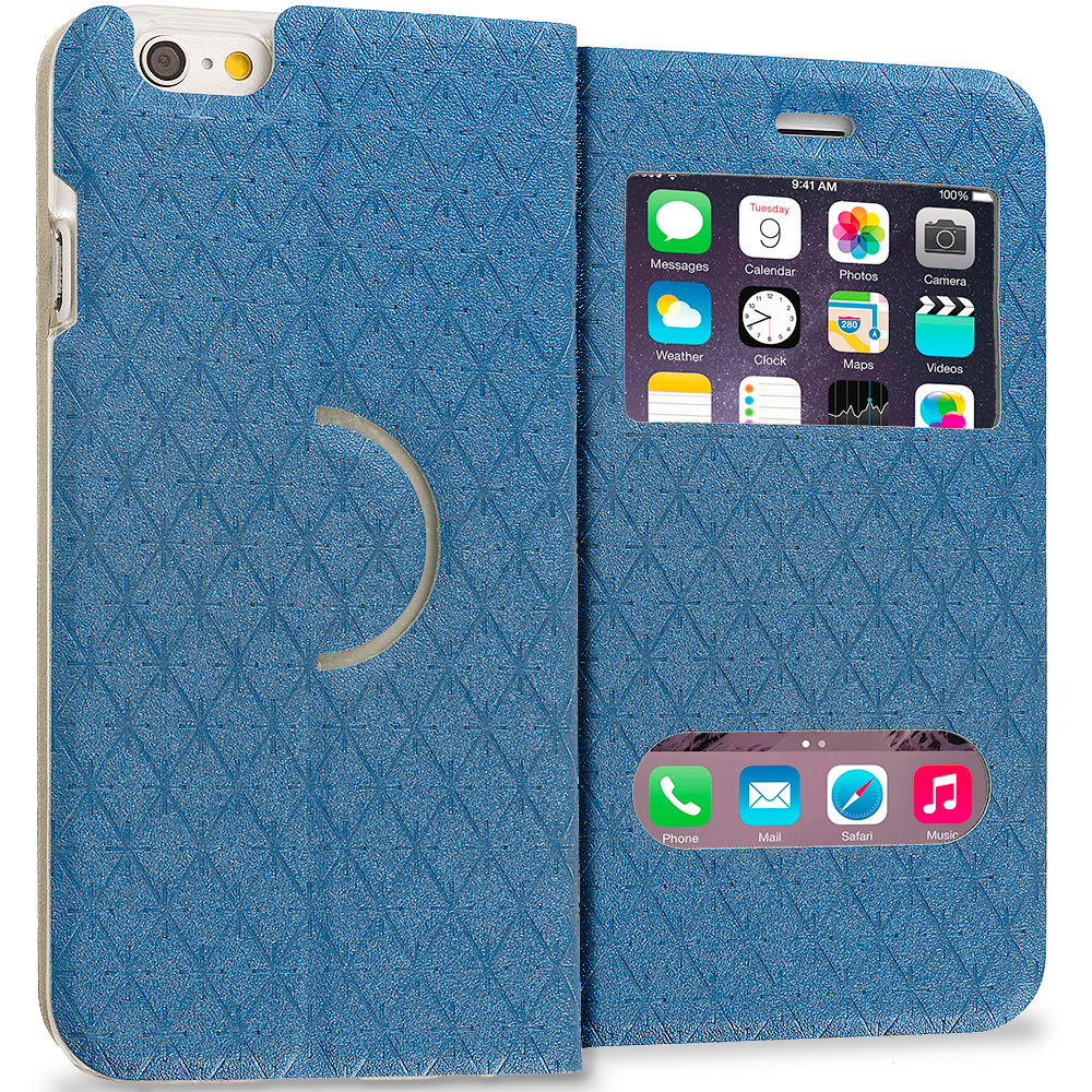 Apple iPhone 6 Plus 6S Plus (5.5) Blue Slim Hard Wallet Flip Case Cover With Double Window
