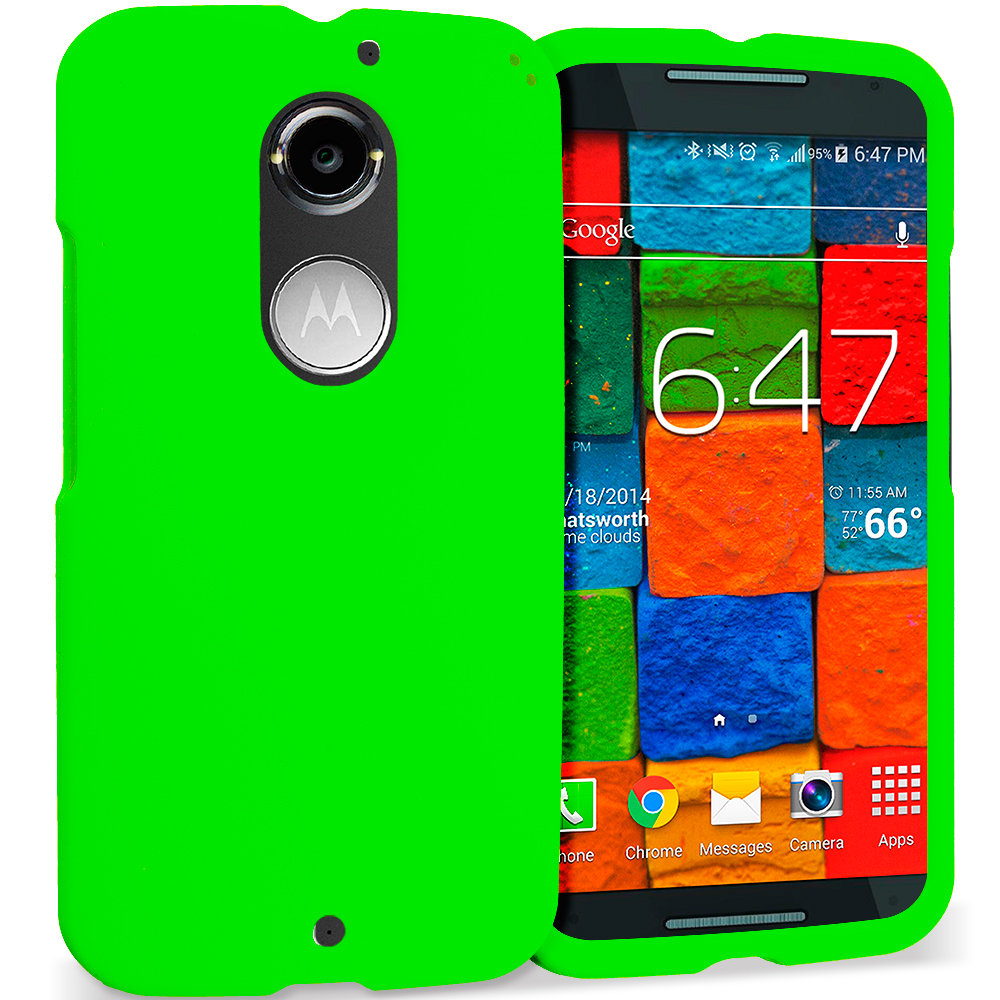 Motorola Moto X 2nd Gen Neon Green Hard Rubberized Case Cover