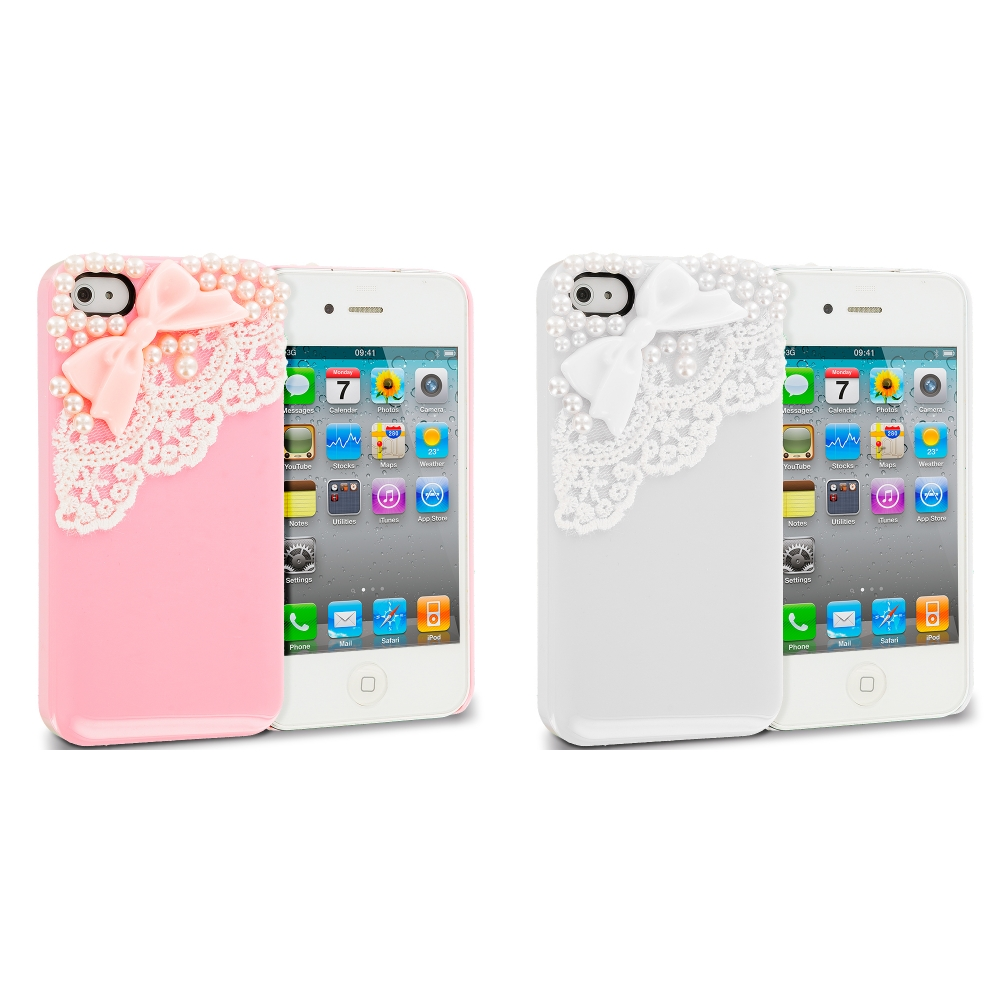 Apple iPhone 4 / 4S 2 in 1 Combo Bundle Pack - Pink White Pearls Crystal Hard Back Cover Case