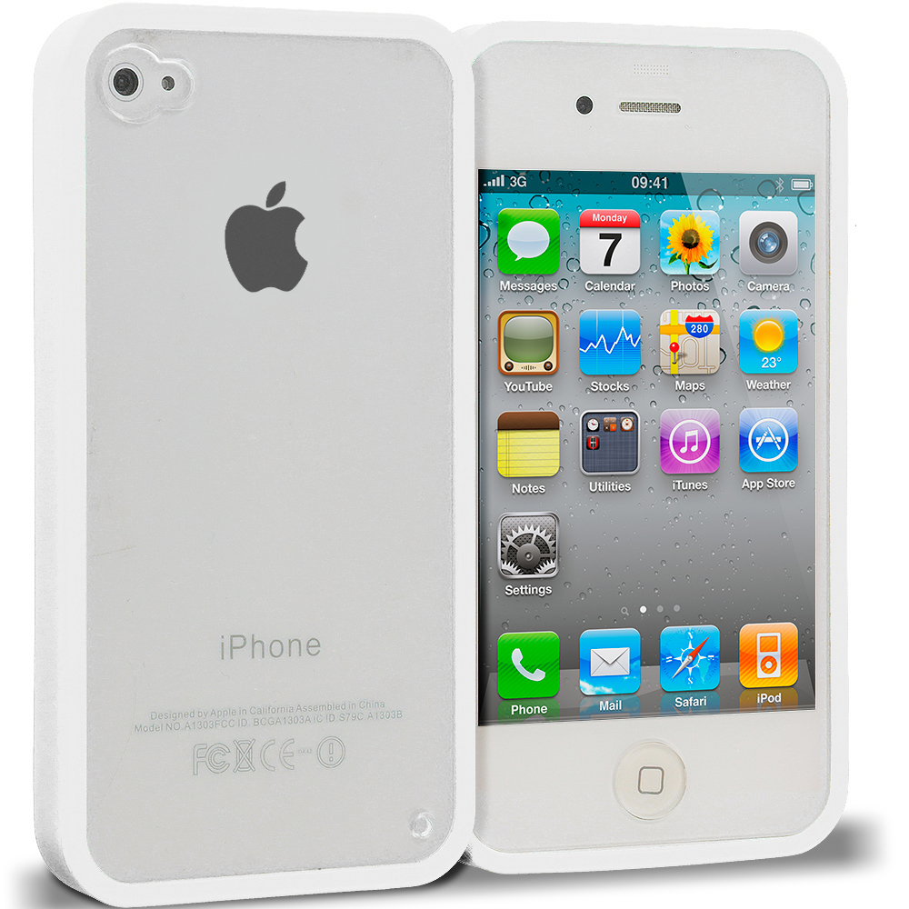 Apple iPhone 4 / 4S White TPU Plastic Hybrid Case Cover