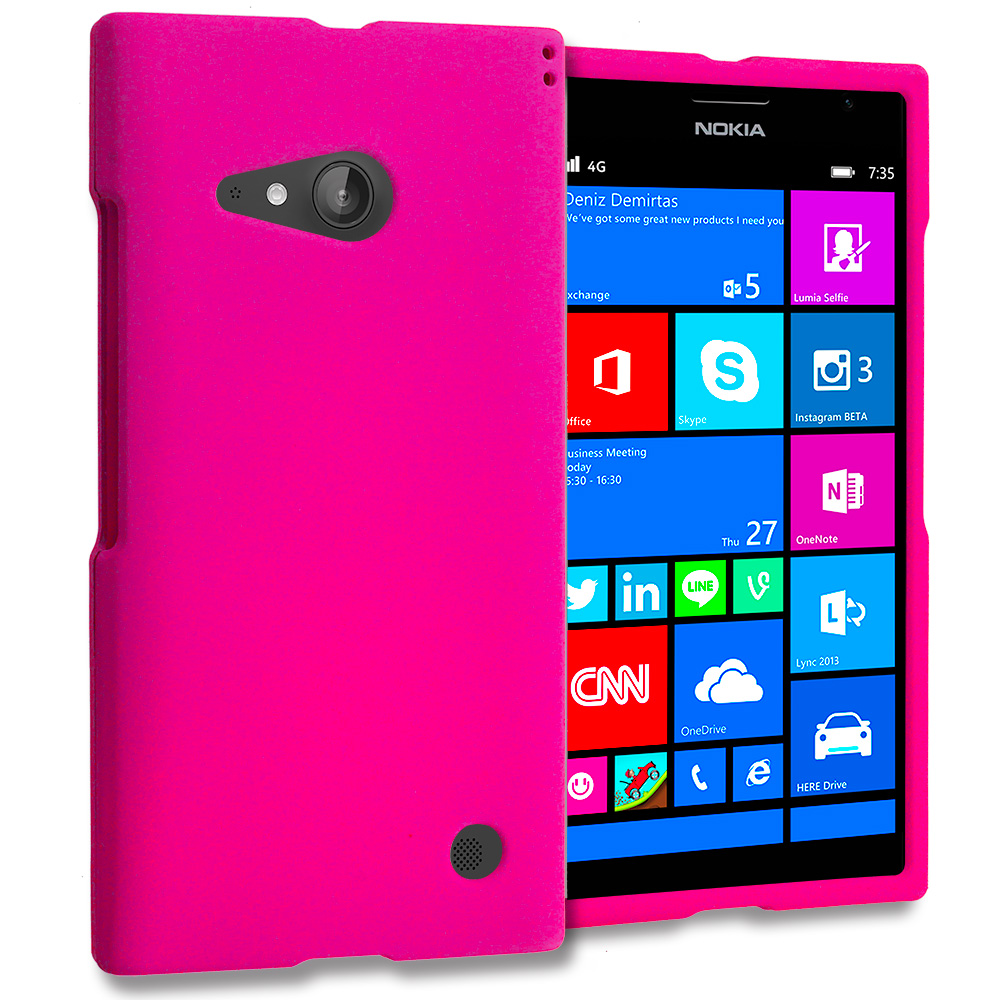 Nokia Lumia 730 735 Hot Pink Hard Rubberized Case Cover