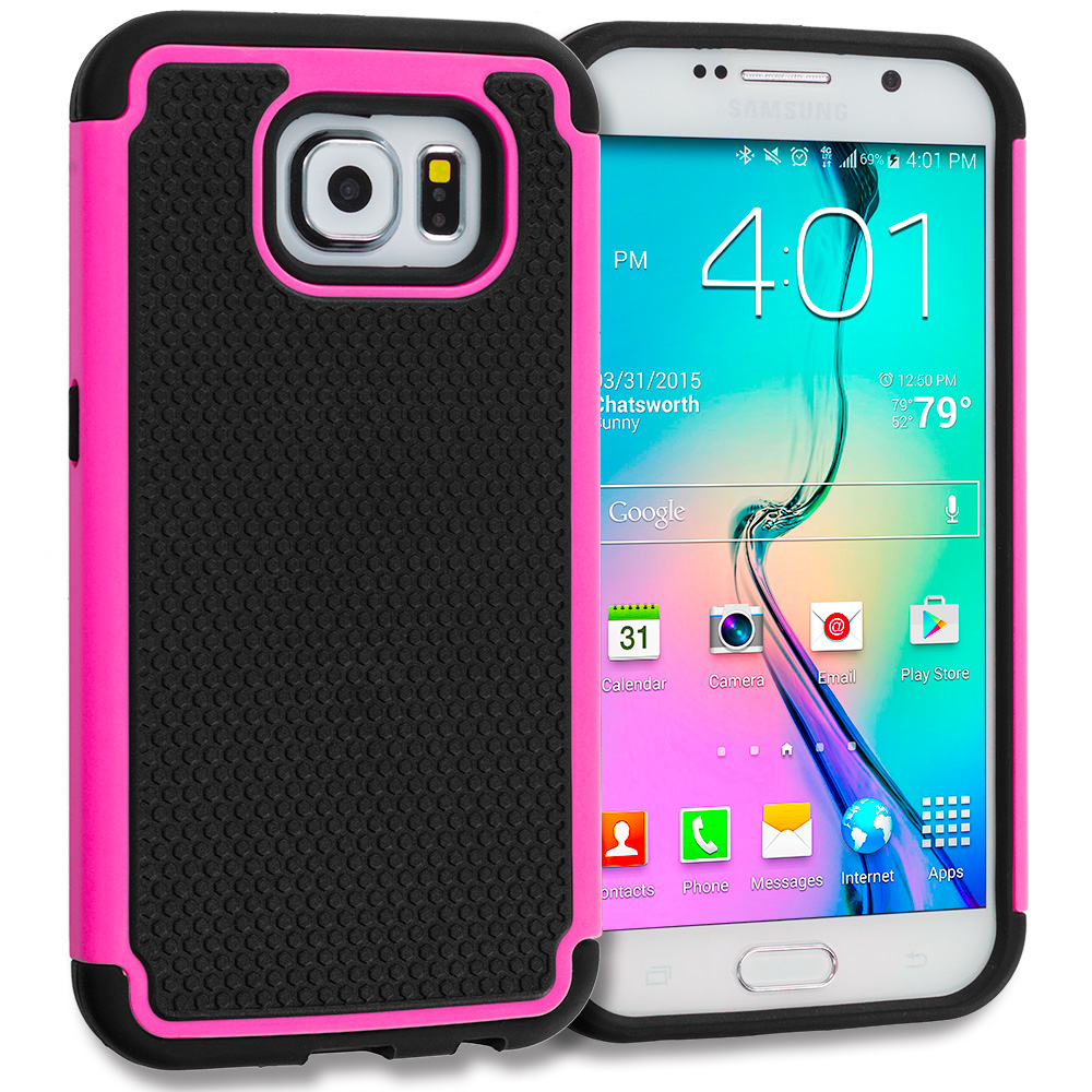 Samsung Galaxy S6 Black / Hot Pink Hybrid Rugged Grip Shockproof Case Cover