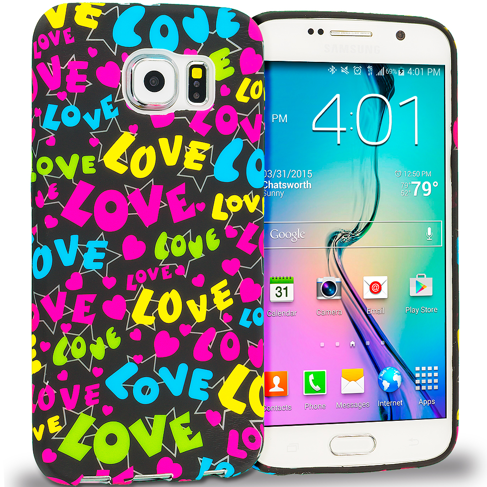 Samsung Galaxy S6 Combo Pack : Rainbow Hearts Black TPU Design Soft Rubber Case Cover : Color Colorful Love on Black