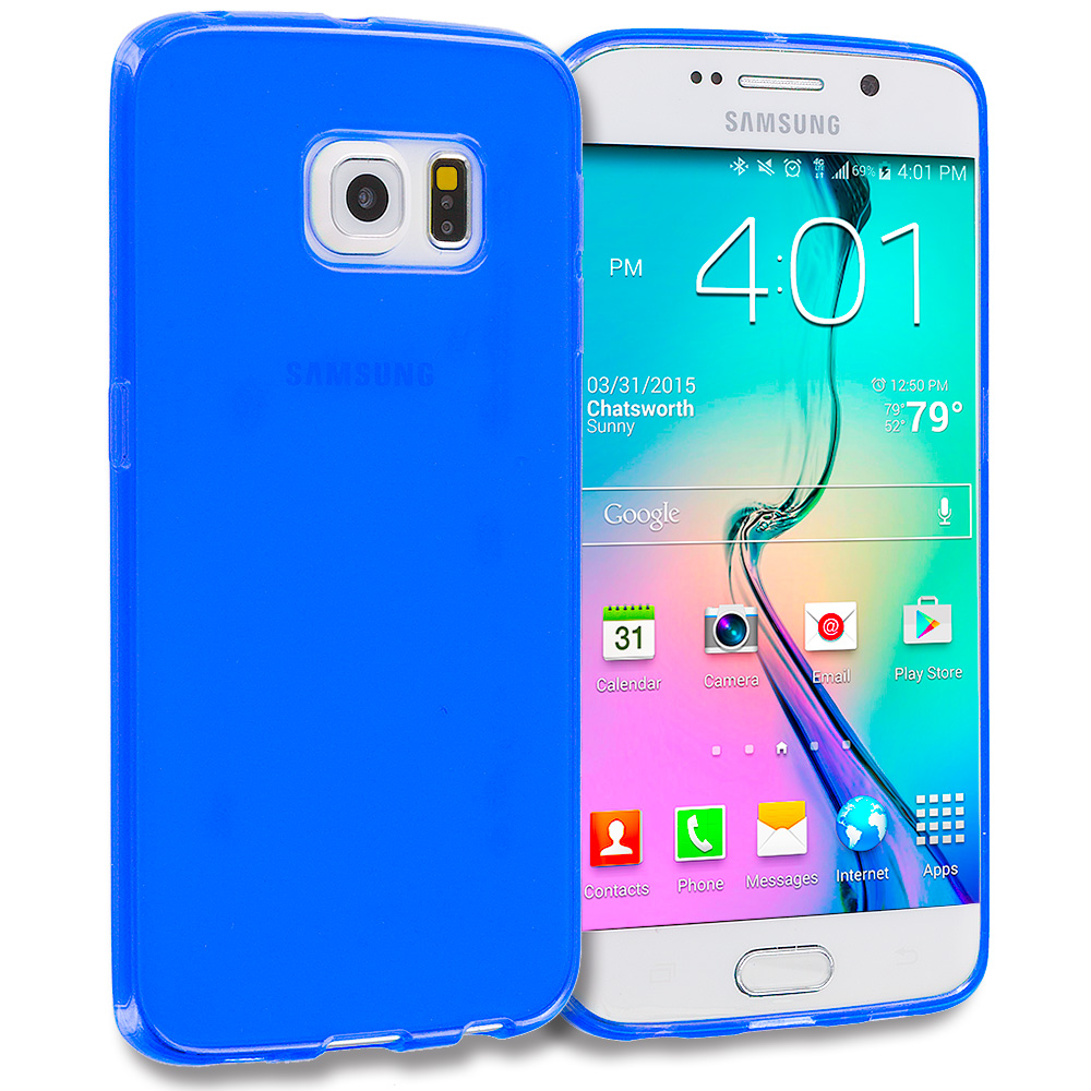 Samsung Galaxy S6 Edge Blue Plain TPU Rubber Skin Case Cover