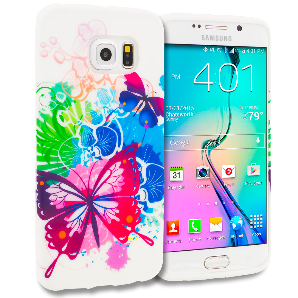Samsung Galaxy S6 Edge Butterfly Colorful TPU Design Soft Rubber Case Cover