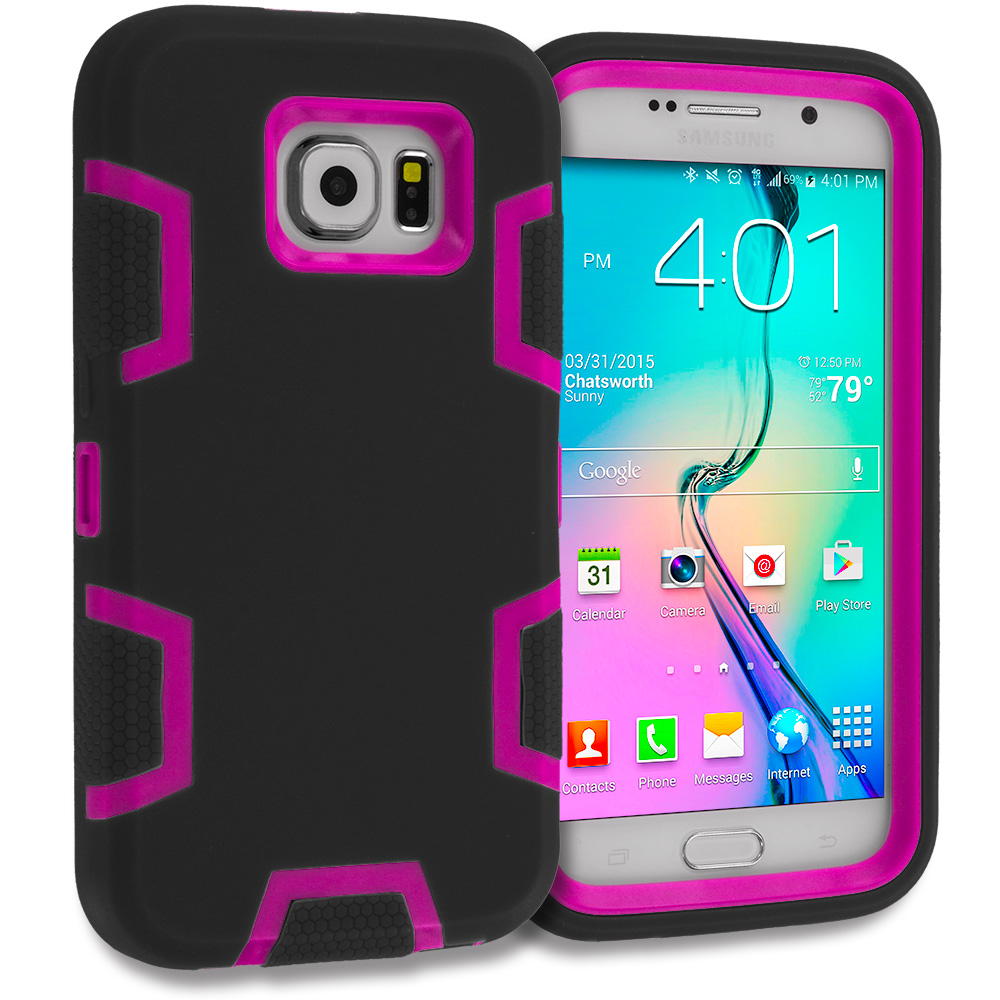 Samsung Galaxy S6 3 in 1 Combo Bundle Pack - Hybrid Defender Heavy Duty Shockproof Armor Hard Soft Case Cover : Color Black / Hot Pink