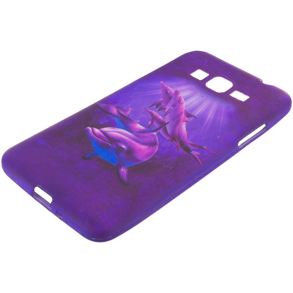 Samsung Galaxy Grand Prime LTE Purple Dolphin TPU Design Soft Rubber Case Cover