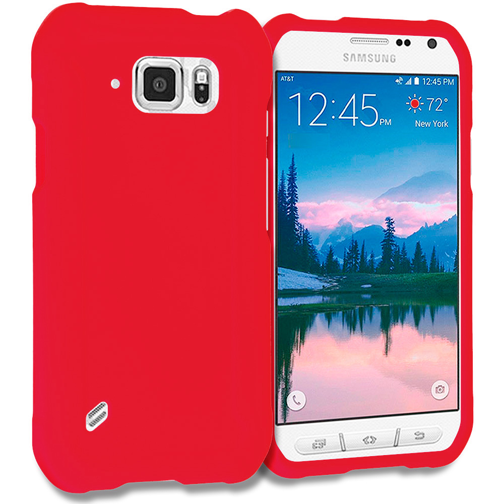 Samsung Galaxy S6 Active Red Hard Rubberized Case Cover