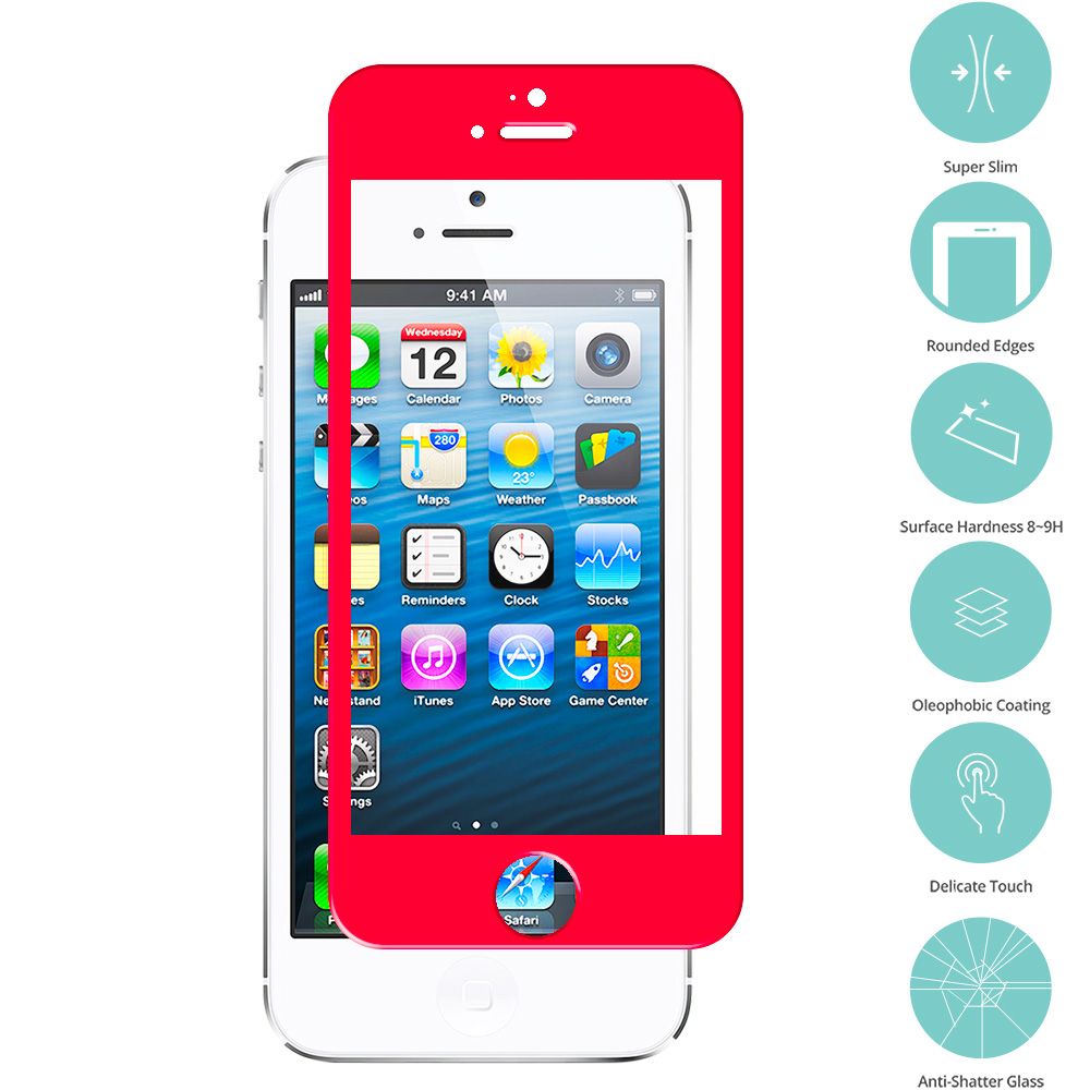 Apple iPhone 5 / 5S / 5C Combo Pack : Red Tempered Glass Film Screen Protector Colored : Color Red