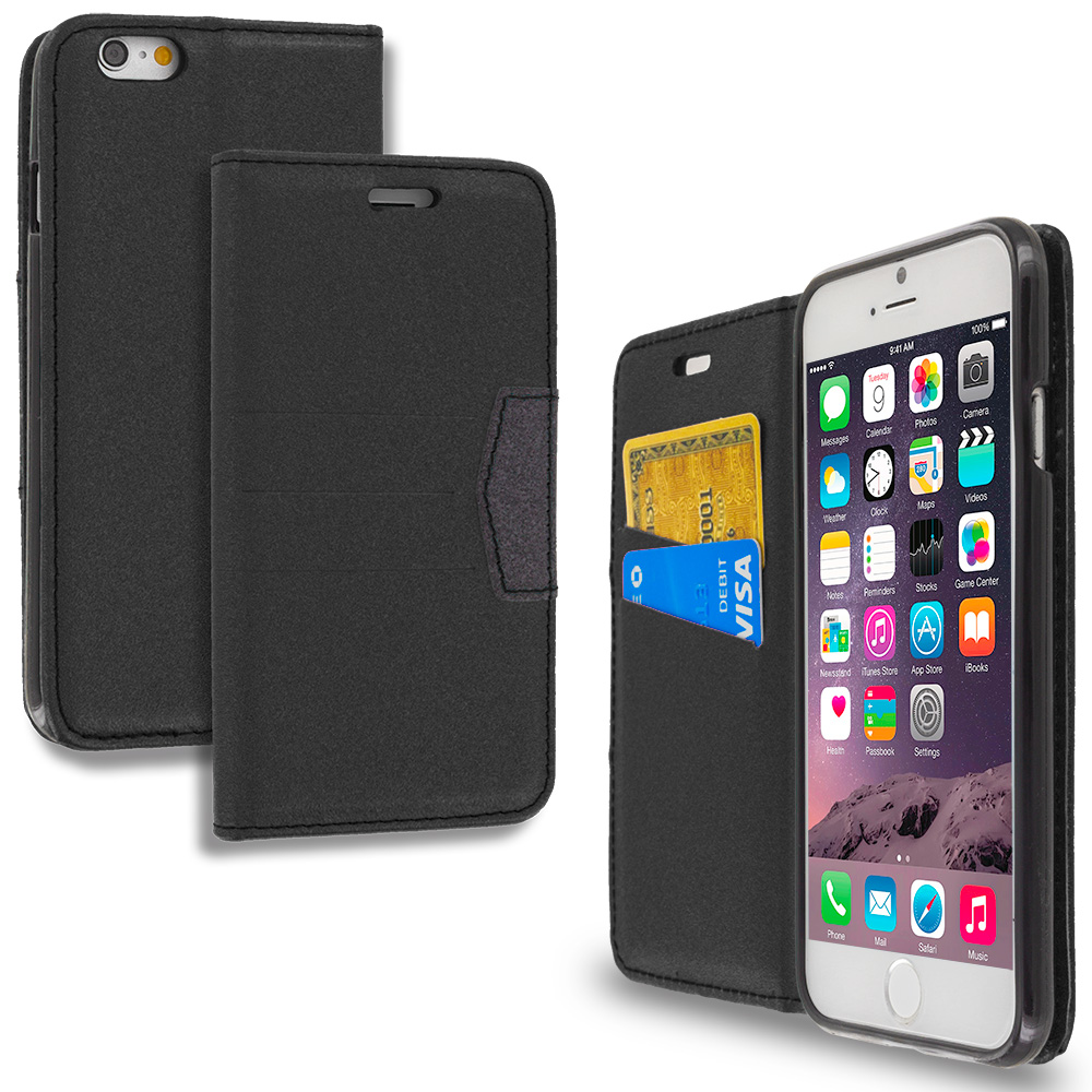 Apple iPhone 6 Plus 6S Plus (5.5) Black Wallet Flip Leather Pouch Case Cover with ID Card Slots
