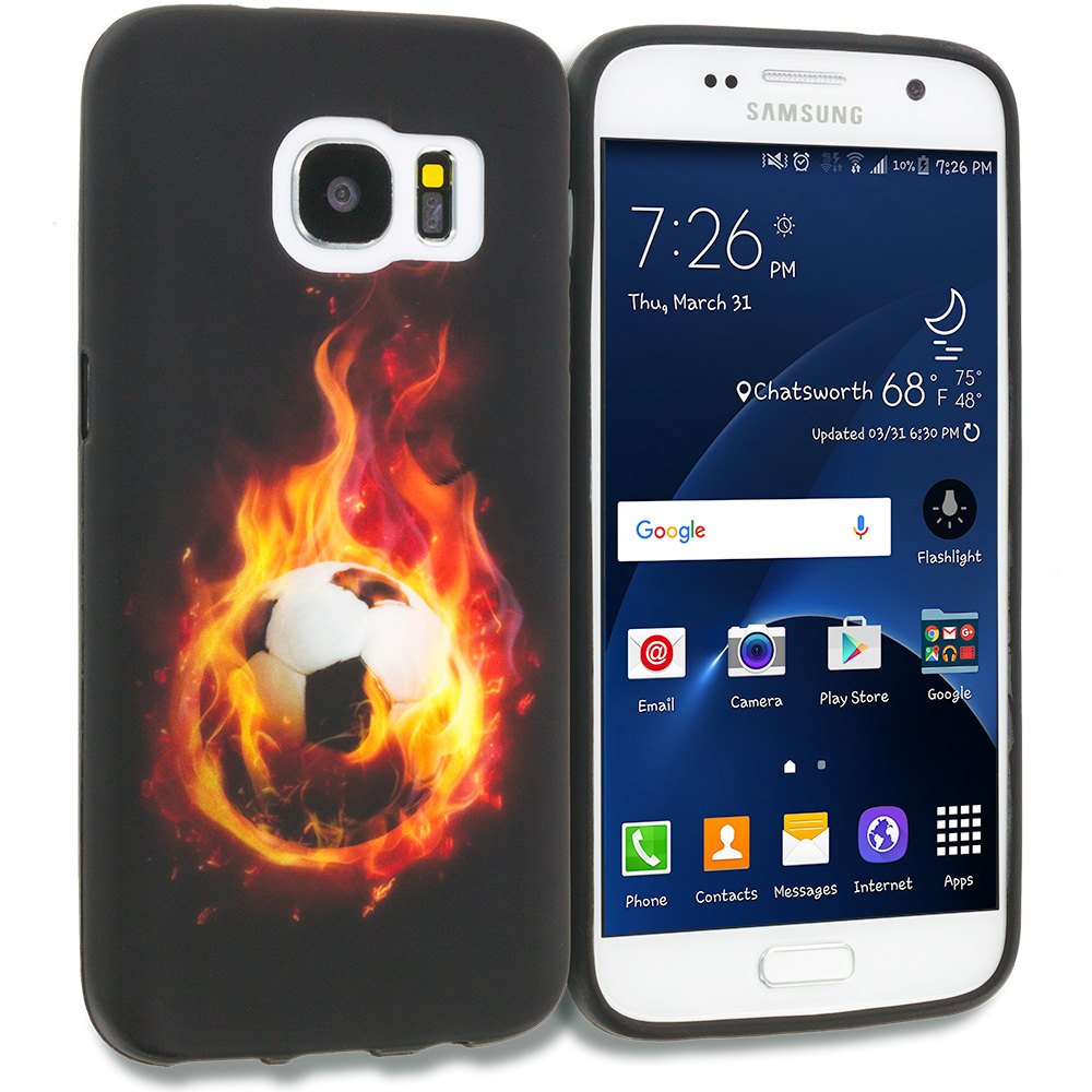 Samsung Galaxy S7 Combo Pack : Flaming Soccer Ball TPU Design Soft Rubber Case Cover : Color Flaming Soccer Ball