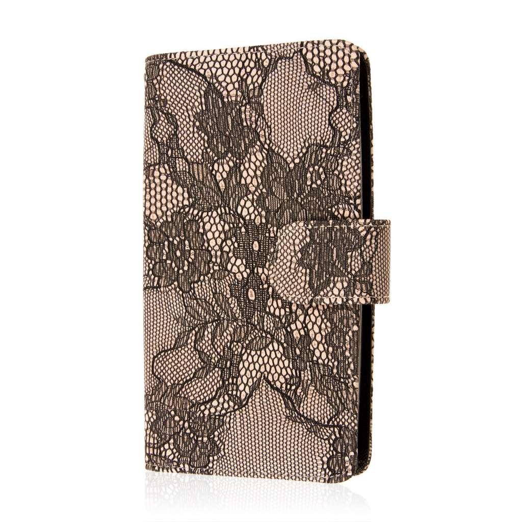 LG G Flex 2 - Black Lace MPERO FLEX FLIP Wallet Case Cover