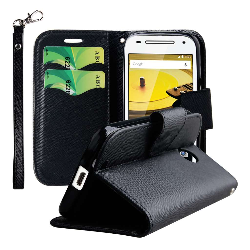 Motorola Moto E 2nd Generation - Black MPERO FLEX FLIP 2 Wallet Stand Case