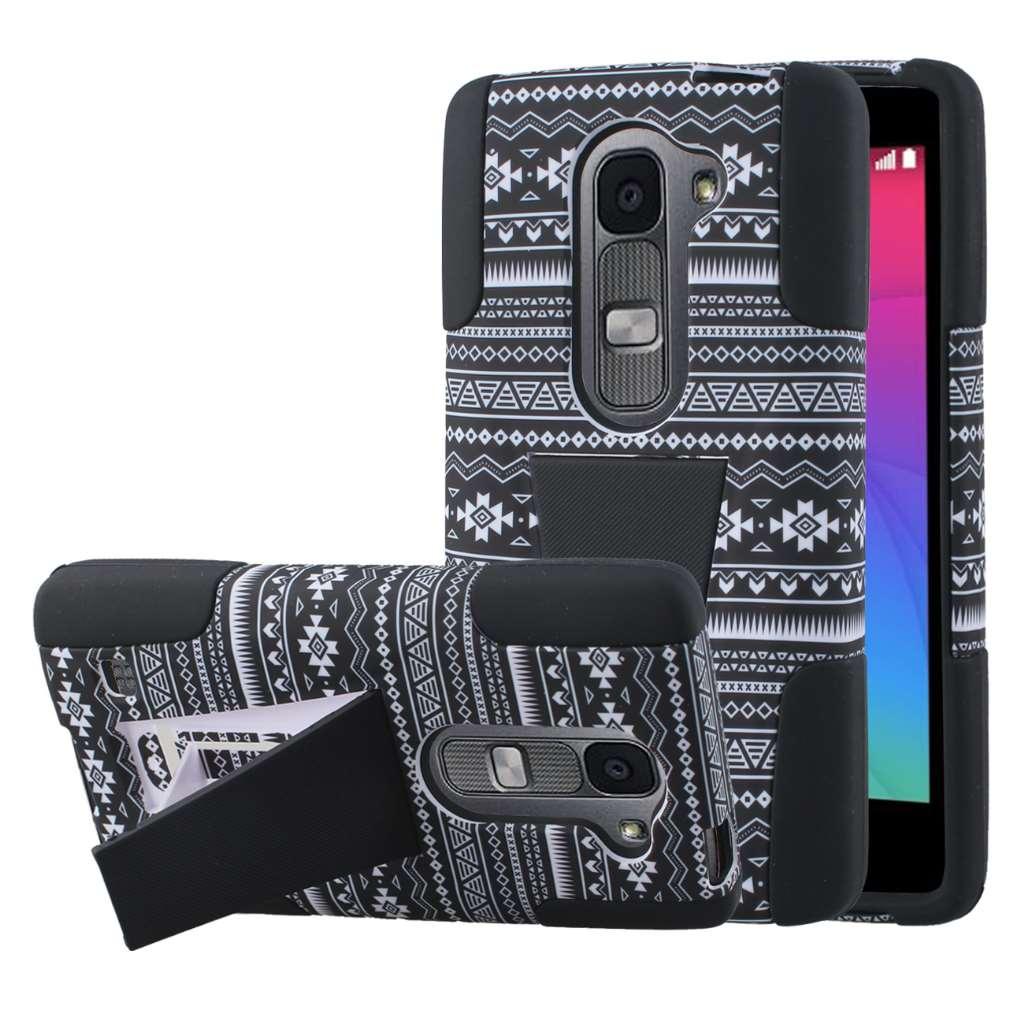 LG Leon - Black Aztec MPERO IMPACT X - Kickstand Case Cover