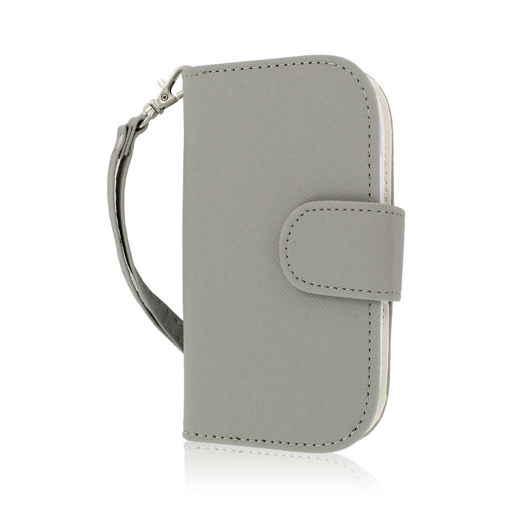 Samsung Galaxy Exhibit - Gray MPERO FLEX FLIP Wallet Case Cover