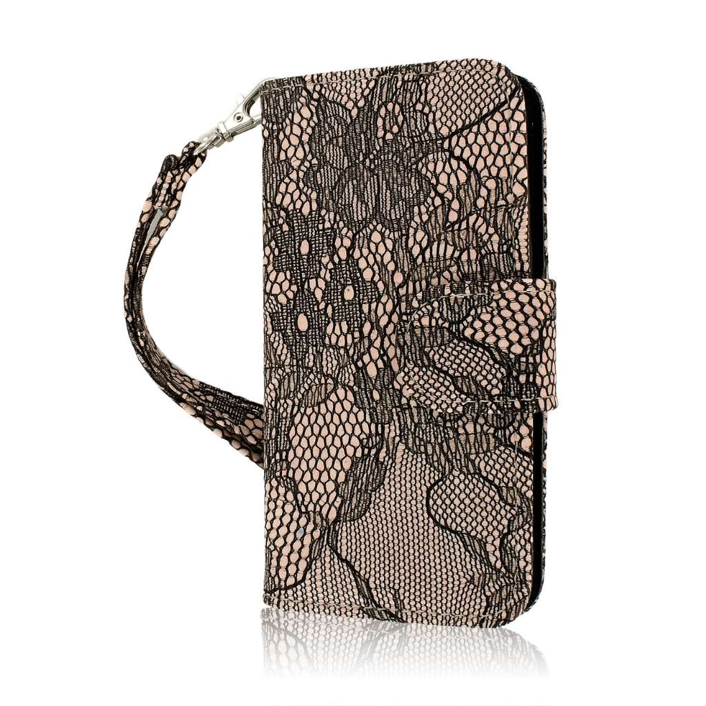Apple iPhone 5/5S/SE - Black Lace MPERO FLEX FLIP Wallet Case Cover