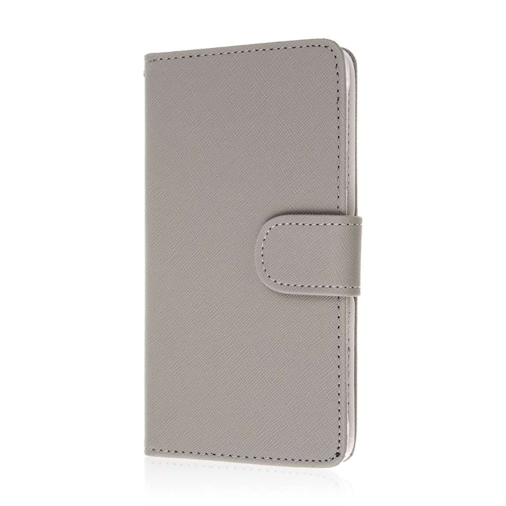 Samsung Galaxy Note 4 - Gray MPERO FLEX FLIP Wallet Case Cover
