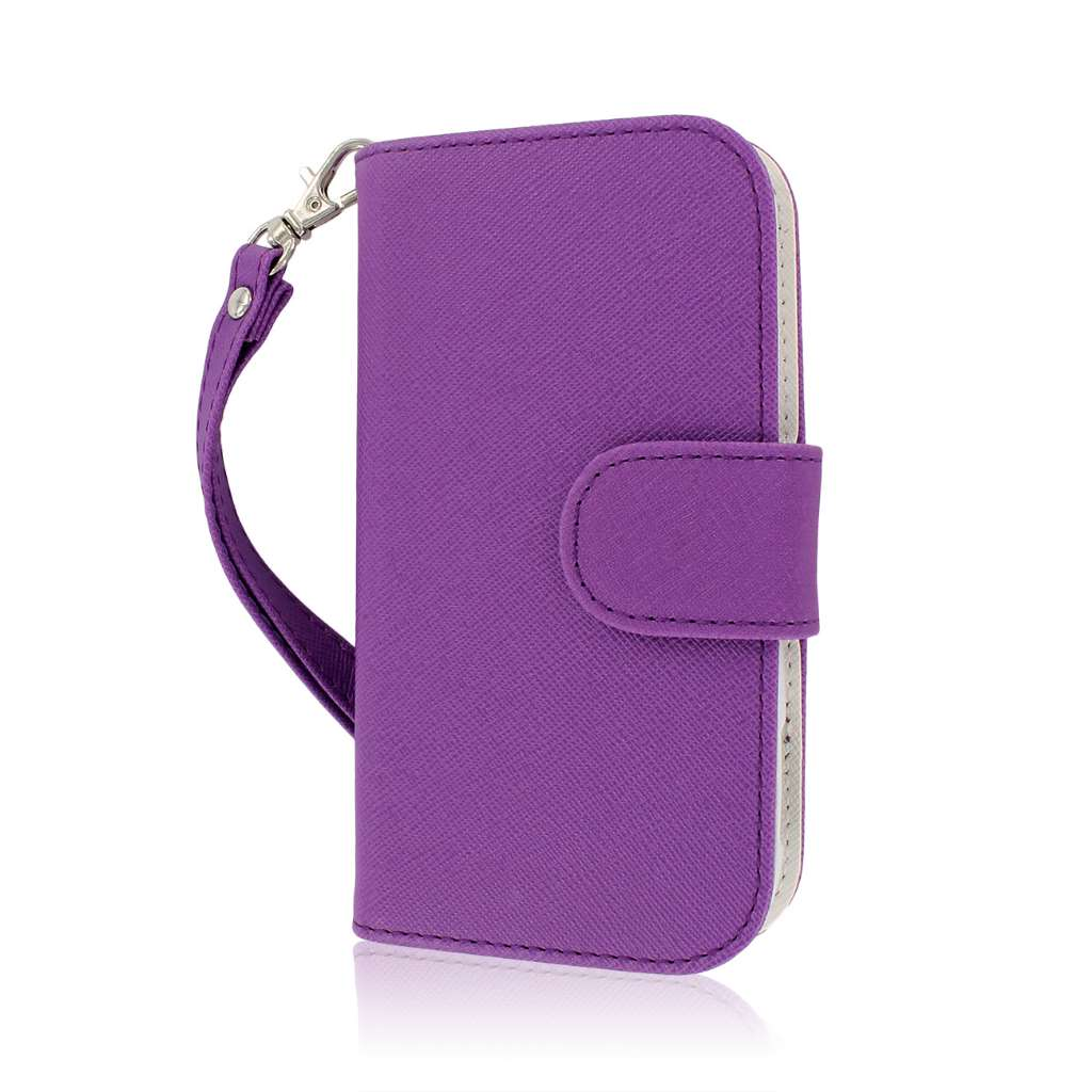 ZTE Warp Sequent N861 - Purple / White MPERO FLEX FLIP Wallet Case Cover