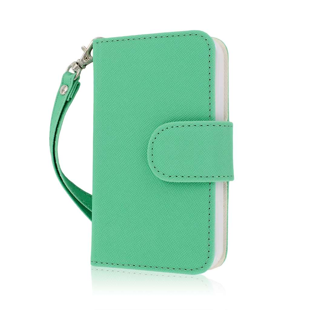 Apple iPhone 5 / 5S - Mint / White MPERO FLEX FLIP Wallet Case Cover