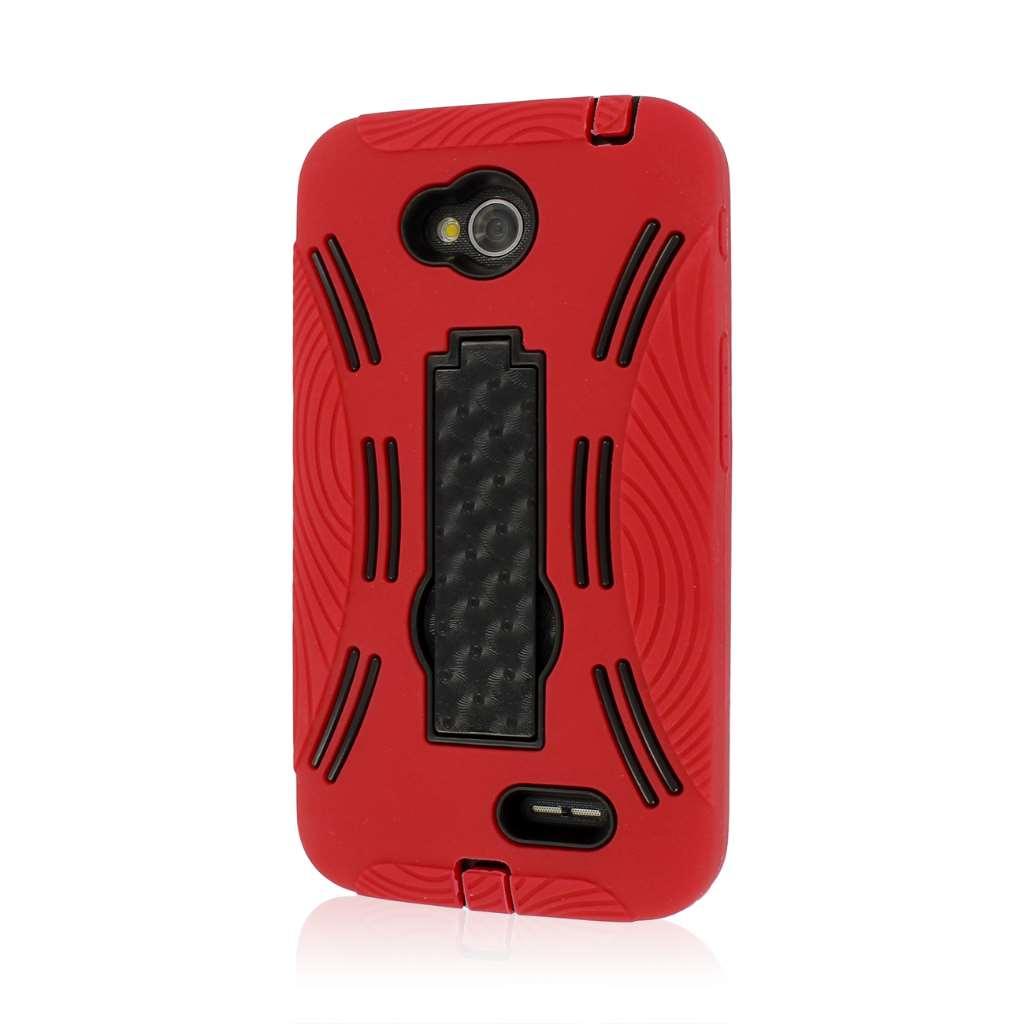 LG Optimus L70 - Red MPERO IMPACT X - Kickstand Case Cover