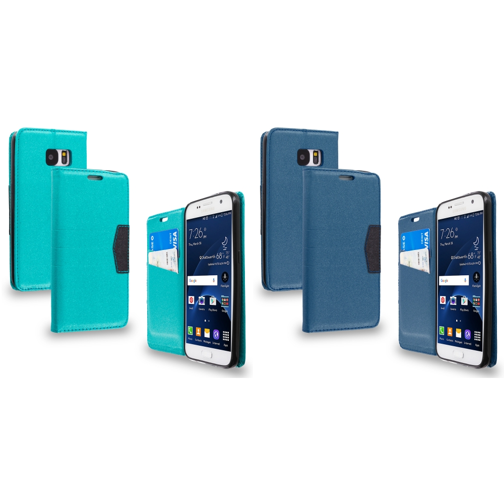 Samsung Galaxy S7 Combo Pack : Baby Blue Wallet Flip Leather Pouch Case Cover with ID Card Slots